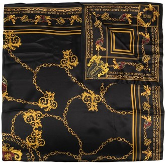Versace Jeans Couture Chain-Print Silk Scarf