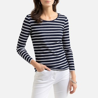 Anne Weyburn Breton Striped Ribbed T-Shirt with Long Sleeves