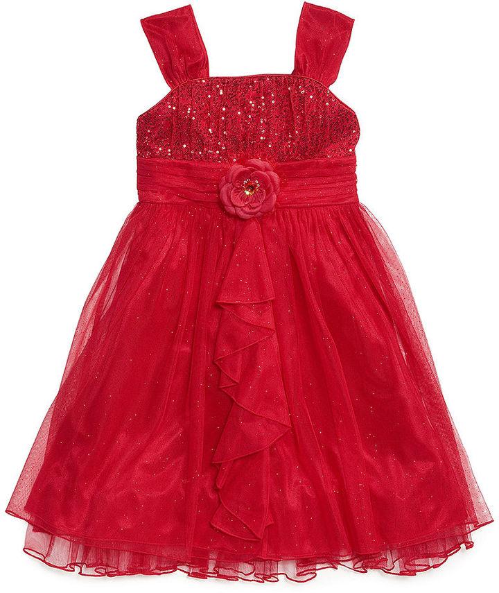 Sequin Hearts Girls Dress, Girls Sequin Chiffon Dress