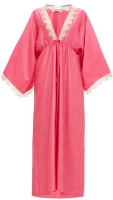 Zandra Rhodes William Vintage Lace-insert Satin Kaftan Dress - Womens - Pink