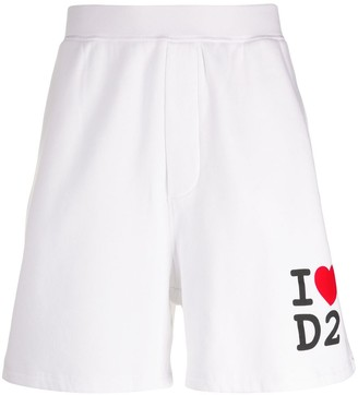 DSQUARED2 Love Logo Print Track Shorts