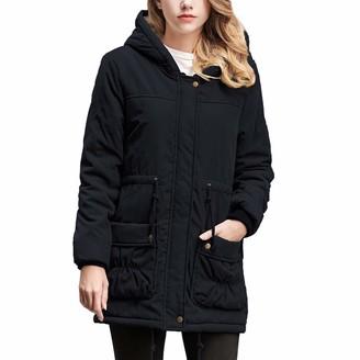 KaloryWee Womens Warm Long Coat Collar Hooded Jacket Slim Winter Parka Outwear Coats BK/2X Black