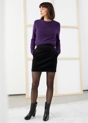 And other stories Velvet Mini Pencil Skirt