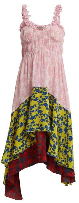 Preen Line Lilah Panelled Floral Print Crepe Dress - Womens - Pink Multi