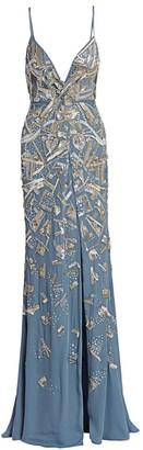 BURNETT NEW YORK Ocean Embroidered Sequin Silk Gown