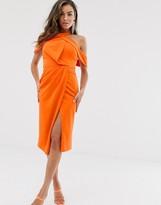 Asos Design DESIGN halter drape bodycon midi dress