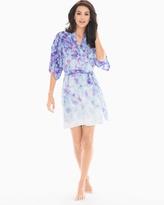 Soma Intimates Chiffon Short Sleeve Robe Ombre Petals Baja Blue