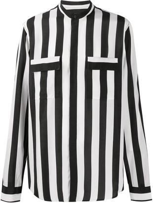 Balmain Striped Mandarin Collar Shirt