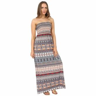 MIXLOT New Womens Ladies Sexy Printed Sheering Maxi Boobtube Bandeau Top Long Maxi Dress (Daisy 12-14)