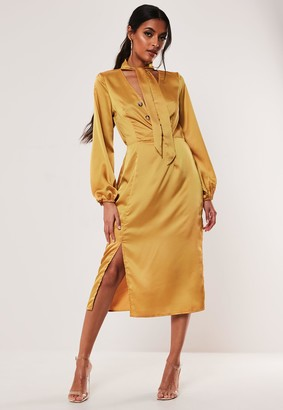 Missguided Mustard Satin Tie Neck Button Midi Dress
