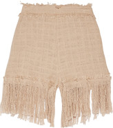 MSGM Fringed cotton-blend tweed shorts