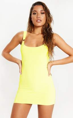 PrettyLittleThing Yellow Slinky Ring Detail Square Neck Bodycon Dress