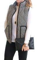 JKQA Women's Slim Fall Quilted Herringbone Puffer Vest with Zipper (M, )