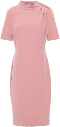 Badgley Mischka Button-detailed Stretch-crepe Dress