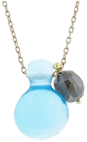 Ten Thousand Things Blue Topaz Bulb and Diamond Drop Necklace in Yellow Gold