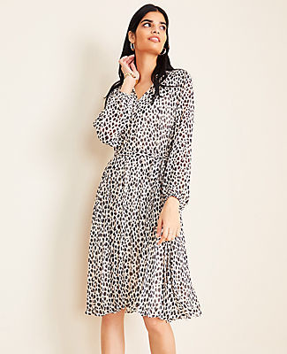 Ann Taylor Petite Cheetah Print Pleated Skirt Dress