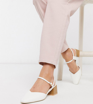 Raid Exclusive Demi mid heel shoes with square toe in white