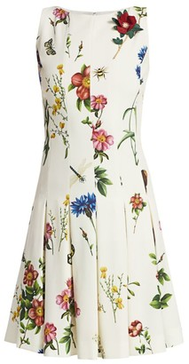 Oscar de la Renta Sleeveless Printed A-Line Dress