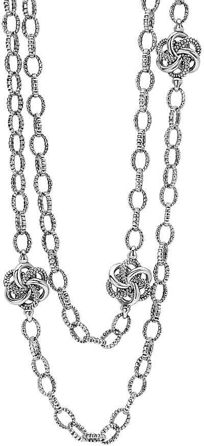 """Lagos Sterling Silver Love Knot Link Necklace, 34"""""""