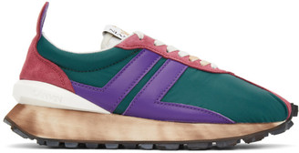 Lanvin SSENSE Exclusive Green and Purple Bumper Sneakers