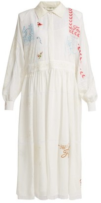 Fendi Embroidered Voile Gown - Womens - White Multi