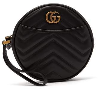 Gucci Gg Marmont Circular Leather Wristlet Pouch - Womens - Black