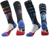 J'colour Mens Color Printed Elite Dri-Fit Knee High Winter Warm Basketball Socks,2-Pack,Multicolour10,Size(10 -13)
