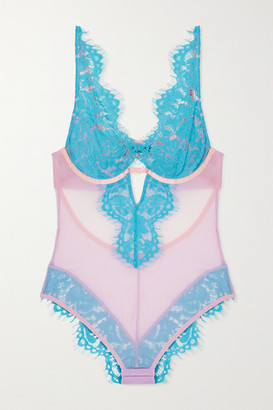 Dora Larsen - Lucia Stretch-tulle And Lace Underwired Bodysuit - Blue