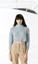 Again Collection - Alaska Crop Sweater in Ice Blue