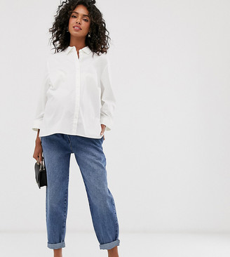 Asos DESIGN Maternity tapered leg boyfriend jeans with curve seam in mid vintage wash with over the bump band-Blue