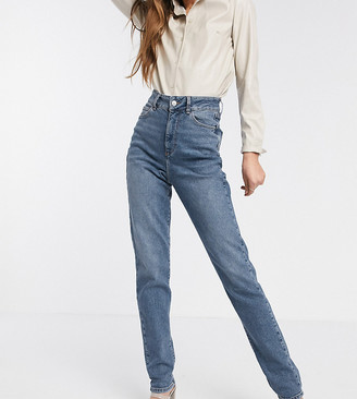 New Look Tall waist enhancing mom jean in mid blue