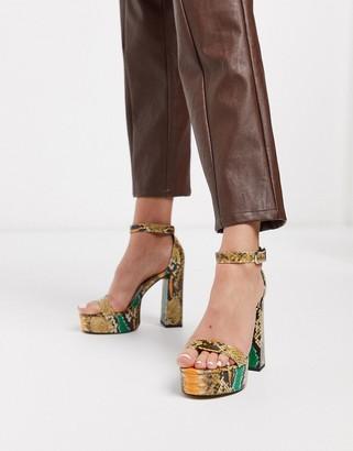ASOS DESIGN Noon platform block heeled sandals in snake