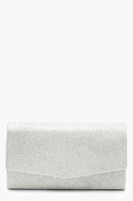 boohoo Structured Metallic Clutch Bag & Chain