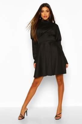 boohoo Puff Sleeve High Neck Skater Dress