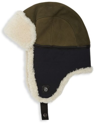 Mixed-Media Shearling & Faux-Shearling Leather Trapper Hat