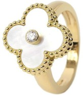 Van Cleef & Arpels 18k Yellow Gold Mother of Pearl and Diamond Ring Size 5.25
