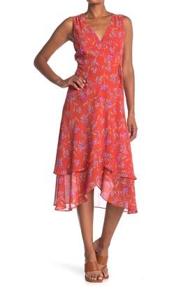 Lush Floral Print Wrap Midi Dress