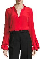 Alexis Rocio Silk Ruffle-Sleeve Top