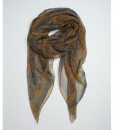 Hermes brown and blue logo and purse print silk sheer scarf
