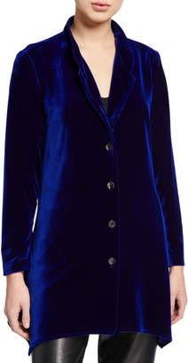 Caroline Rose Plus Size Button-Down Stretch Velvet Swing Shirt with Mandarin Collar