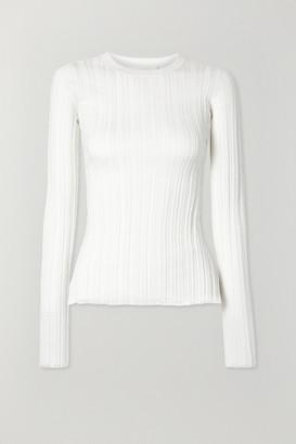Helmut Lang Ribbed Merino Wool Top - Ivory