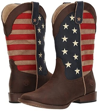 Roper American Patriot (Big Kid) (Brown Faux Leather Vamp Stars & Stripes Shaft) Cowboy Boots