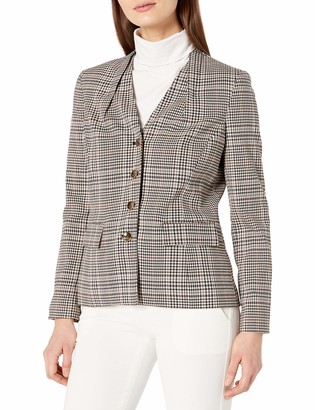 Tahari ASL Women's Four Button Glen Plaid Jacket