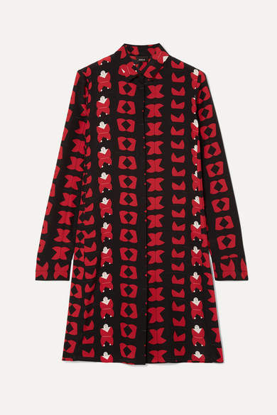 Akris Printed Silk Crepe De Chine Tunic - Red