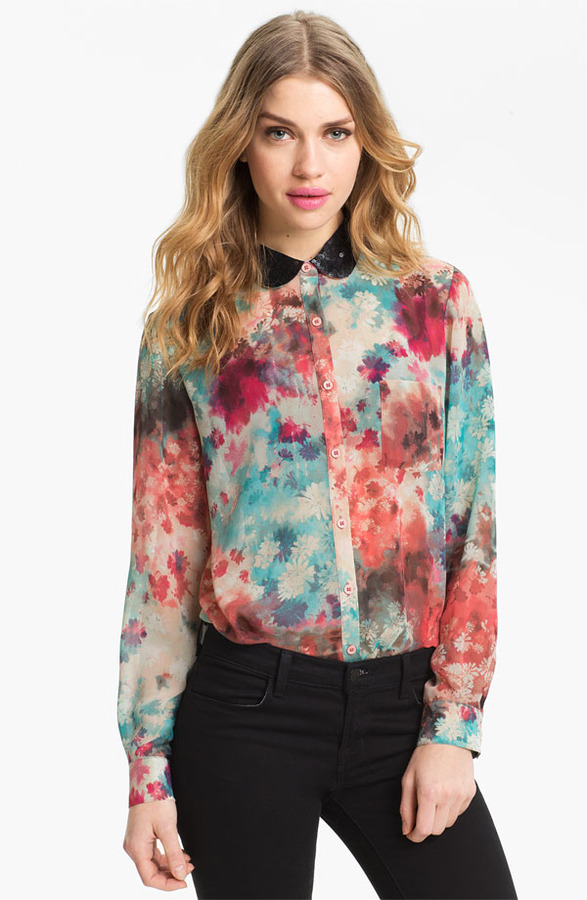 Bellatrix Embellished Collar Print Chiffon Shirt