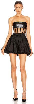David Koma Leather Bra Corset Skater Mini Dress in Black | FWRD