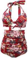 Sun Women Vintage High Waist Retro Bikini Swimsuit Set Push Up Swimwear (S, )
