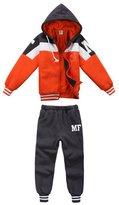 XiaoYouYu Little Boy's Fleece Lining Hooded Jackets + Sweatpants Winter Clothing Set US Size 4T