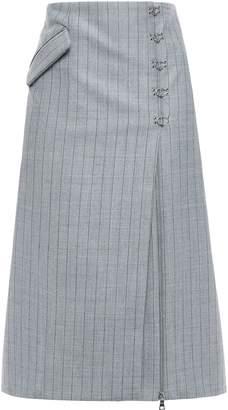 Jonathan Simkhai Hook-detailed Pinstripe Twill Midi Skirt