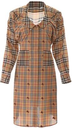 Burberry Check Panelled Shirt Dress